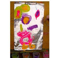 Aluminum Foil Painting! Kids Art.