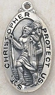 """SAINT CHRISTOPHER MEDAL, Price includes shipping to all fifty states. Solid sterling silver medal, approx. 1-1/16"""" in height. Gift boxed with a complimentary 20"""" stainless steel chain. Carries the Creed lifetime guarantee."""