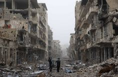 Aleppo Syria. The mass destruction of humans and infrastructure is a humanitarian environmental and architectural disaster unprecedented in modern times.