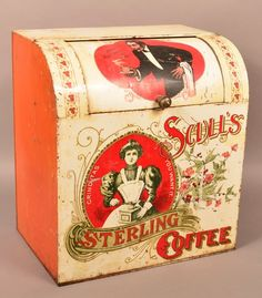 Tin Lithograph Scull's Sterling Coffee Bin. : Lot 398