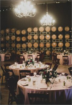 Maroons, blush, pinks, twinkle lights, chandeliers and Barrel Room is Vineyard Wedding reception perfection!