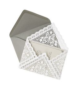 Wedding invitations - DIY Envelope Liners - Paper Doilies. Brilliant Idea - To make, lay a 9-inch square doily face down, with a corner pointing toward you. Center invitation on top. Fold up bottom point, then side points, and finally the top.