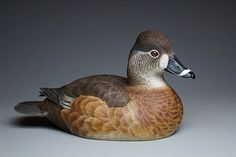 Ring-Necked female, hand carved, Tupelo wood, acrylic paint Second Best of species Ward World 2014. Second Best of categories 2015 Canadian National. Yves Laurent (b.1955)