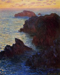 Rocky Point at Port-Goulphar, 1886 by Claude Monet. Impressionism. landscape