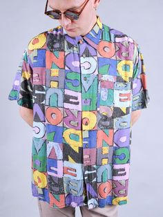 90s crazy patterned shirt - mens