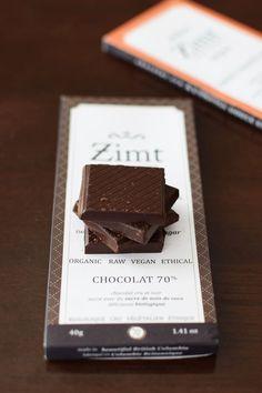 Zimt Chocolate Bars: Organic, Artisan, Vegan and Refined Sugar Free! The luxuriously smooth 70% cacao chocolate bars are dairy-free and sweetened with coconut sugar.