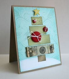"""Featured on Two Peas in a Bucket """"Holiday Cardmaking Weekend"""" under 'Guest… Gift Cards Money, Diy Cards, Money Origami, Winter Cards, Greeting Cards Handmade, Homemade Cards, Christmas Fun, Making Ideas, Cardmaking"""