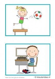 Dagritmekaarten voor kleuters 7, kleuteridee.nl , gym en computers, daily schedule cards for preschool 7, free printable.
