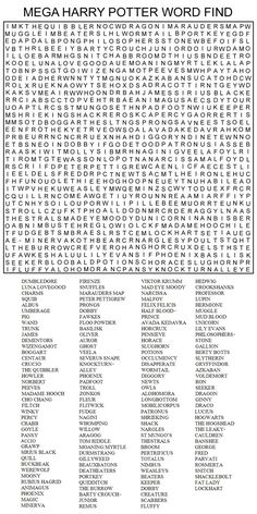 Hard Printable Word Searches for Adults | MEGA HARRY POTTER WORD FIND by Kinky-chichi: