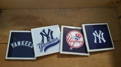 Set of 4 handmade New York Yankees Coasters by ManCaveQuilts1 on Etsy