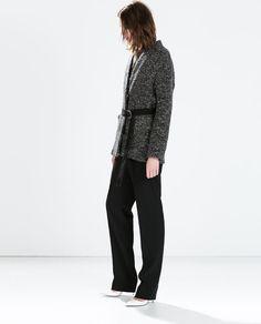 ZARA - WOMAN - SHORT KNIT COAT WITH BELT Size xs