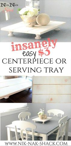 DIY Home Decor - Insanely Easy Centerpiece or Serving Tray! Made from a board and candlestick holders! - Nik Nak Shack