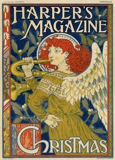 "Customer: New York publishing firm ""Harper's Magazine""); Christmas Cover, Christmas Angels, Harper's Magazine, Magazine Covers, Eugene Grasset, Wall Art Prints, Framed Prints, Visual Communication, Art History"