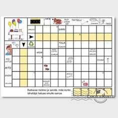 Ristikkokortti, jossa ratkaisusana on ONNEA! Periodic Table, Diagram, Periodic Table Chart, Periotic Table