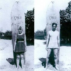 Agatha Christie and her husband Archie Christie with their surfboards in Honolulu, 1922.