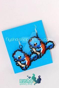 Squirtle Pokemon earrings pixel hama beads by Nyshandra.deviantart.com on @DeviantArt