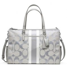Coach :: Baby Bag Signature Stripe Double Zip Tote from Coach. Saved to Epic Wishlist. Coach Baby Bags, Designer Handbags On Sale, Michael Kors Wallet, Coach Purses, Coach Handbags, Luxury Branding, Zip, Diaper Bags, Baby Style