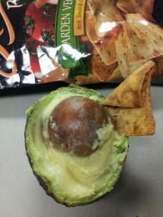"""So tasty. Fresh avo & """"stacy's garden veggie pita chips"""". Mmmmm good snack at work"""