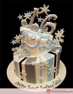 winter wonderland decorations for sweet 16 | Snowflake Sweet 16 Cake » Sweet 16 Cakes