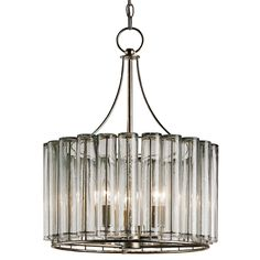 Bevilacqua Chandelier by Currey and Company. Silver leaf finish. Available in small or medium.    Small: 6 feet of chain included  Medium: 8 feet of chain included