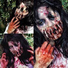 Day5 of my #31daysofhalloween #zombie #sfxmakeup #sfx #gorey #scary #blood  #halloween #halloweenmakeup #halloweenmakeupideas #amazing #beautiful  #facepainting #bodypainting #artist #bobbibicker #london