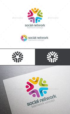 Social Team Work Web Media Logo — Photoshop PSD #creative #friends • Available here → https://graphicriver.net/item/social-team-work-web-media-logo/9178743?ref=pxcr