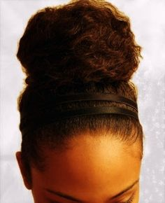 classic bun, sleek edges, satin headband