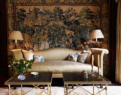 Sophisticated living room with tapestry behind sofa - Douglas Mackie Design