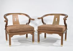 Lot # : 25 - PAIR OF MID-CENTURY ASIAN LOUNGE CHAIRS