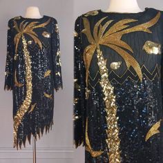 vtg blk gold SEQUIN BEADED COCKTAIL DRESS scallop sheer Swee Lo