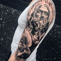 Cool Male Jesus And Dove Half Sleeve Tattoo Design Ideas bone tattoo neck tattoo tattoo tattoo tattoos ideas collar bone Upper Half Sleeve Tattoos, Half Sleeve Tattoos Designs, Tattoo Designs Men, Jesus Tattoo Sleeve, Jesus Tattoo Design, Tattoo Video, Mens Lion Tattoo, Tattoo Themes, Tattoo Hals