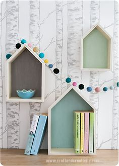 DIY - Painted house shaped shelves and festoon by craftandcreativit. House Painting, Diy Painting, Tree Trunk Wallpaper, Baby Doll Bed, Wood Crafts, Diy Crafts, House Shelves, Craft Sites, English Decor
