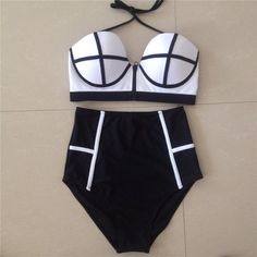high waist bikini solid color patchwork push top women swimwear ziper vintage swimsuit bathing suits