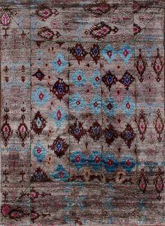 Rugsville Ikat Gray Sari Silk 30006 8x11 Rug
