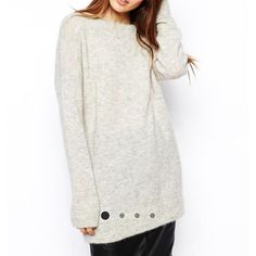 ASOS Oversized Sweater This is a gray ASOS premium oversized sweater that has that trendy slouchy look. I have worn it with black leather pants and heels. You will receive many compliments on this. It also looks great with leggings to lounge in! ASOS Sweaters Crew & Scoop Necks