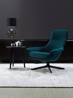 Seymore Chair from King Furniture. I really like the sleek lines of this chair. We have decided to get this rather than the Eames lounge chair. King Furniture, Furniture Design, Lounge Furniture, White Bedroom Chair, Gray Bedroom, Swivel Chair, Chair Design, Decoration, Interior Design