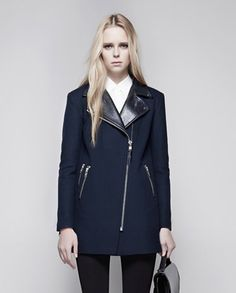 Mackage - PHYLIS BIKER NAVY WOOL COAT WITH LEATHER COLLAR