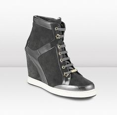 Jimmy Choo Panama Smoke Suede and Patent Wedge Sneakers