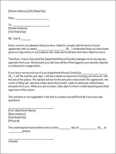Free Notice To Vacate 60 Day Notice To Vacate Template  Template  Pinterest  Template .