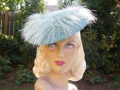 ~Superb vtg. '40s ice blue tilt hat~swirling feathers~World War II~ EXCELLENT
