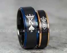 FREE SHIPPING FREE Custom Engraving 2 Piece Couple Set Black Tungsten Bands with Step Edge King & Queen Crowns Black Tungsten Wedding Rings