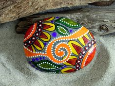 Moroccan Sunrise / Painted Stone / Sandi Pike by LoveFromCapeCod, $39.00