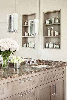 //Ask an Expert: Bathroom Renovation Trends Inset shelf replaces medicine cabinet.//Ask an Expert: Bathroom Renovation Trends Bad Inspiration, Bathroom Inspiration, Bathroom Niche, Bathroom Cabinets, Bathroom Ideas, Bathroom Marble, Bathroom Remodeling, Marble Wall, Bathroom Colors