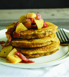 Pumpkin Pancakes with Apple Bacon Topping