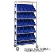 Chrome Wire Shelving Cart with Slant Shelves (SLT-4824-C)