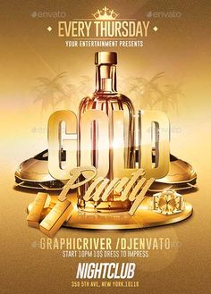 Gold Party PSD Flyer Template…
