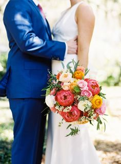 Colorful peony, ranunculus, and rose wedding bouquet: Photography: Graham Terhune Photography - grahamterhune.com   Read More on SMP: http://www.stylemepretty.com/2016/10/31//