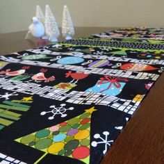 Retro Mid Century Atomic Style Christmas Holiday Table Runner, Hand Made by Tiki Queen