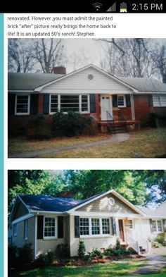 exterior brown brick before and after painted - Google Search