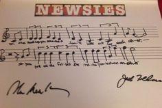 Disney's Newsies Musical Phrase - SIGNED by Emmy, Grammy & Tony Winner Alan Menken & Tony Winner Jack Feldman